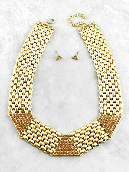 Gold Lattice Collar Necklace