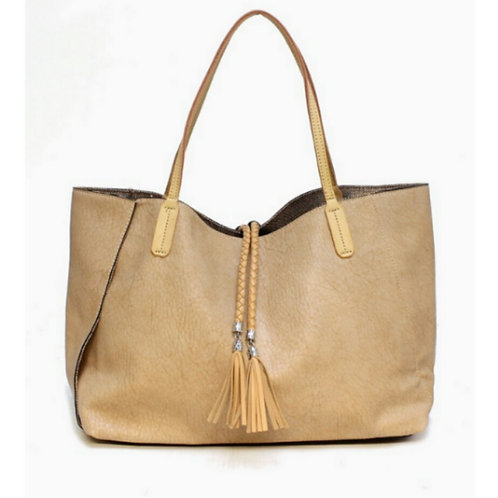 Summer Braided Beige Tassel Carry-All Tote