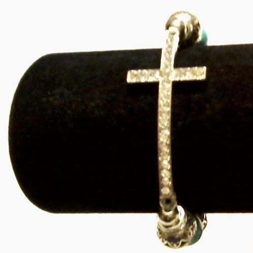 Turquoise & Silver Cross Bead Bracelet