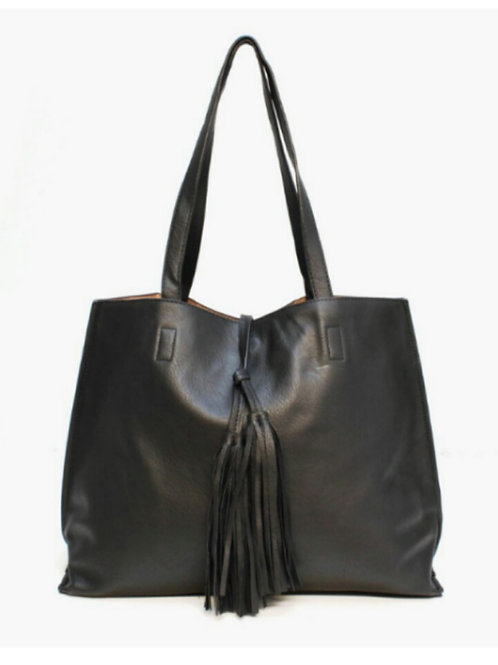 Double Tassel Front Fashion Tote in Black