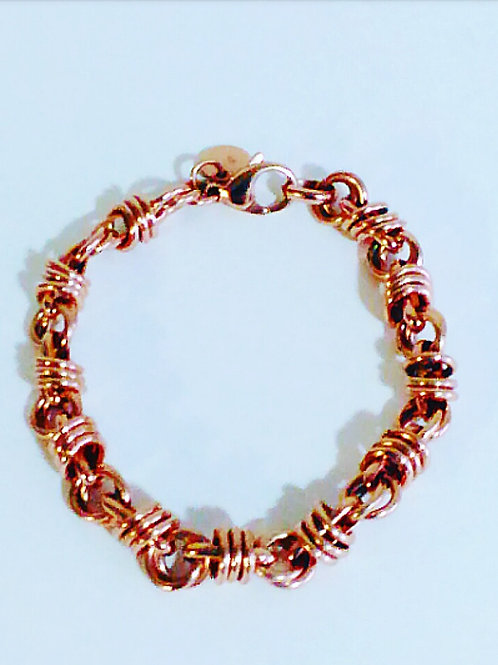 Rose Gold Circular Link Bracelet