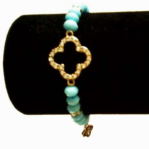 Blue Clover Bead Bracelet