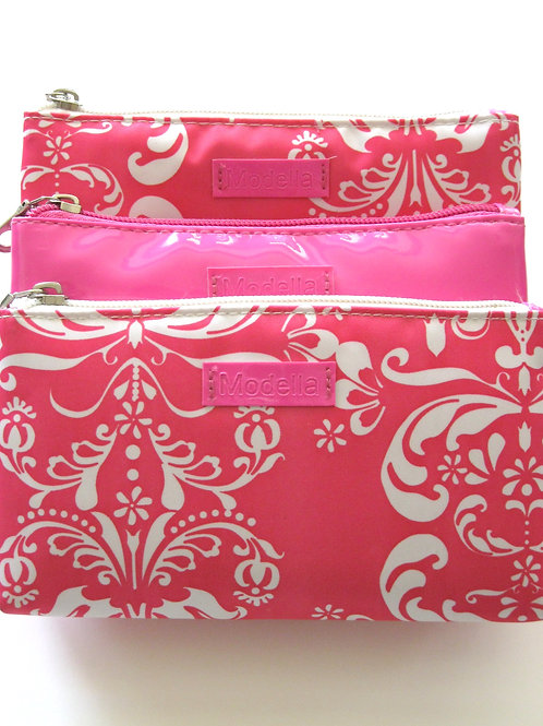 Pink & White Paisley Cosmetic Bag Set