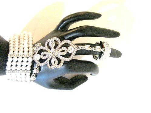 Exotic Pearl & Silver Ring Bracelet