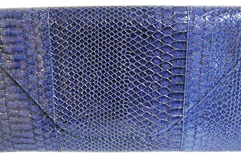 Blue Faux Snakeskin Clutch