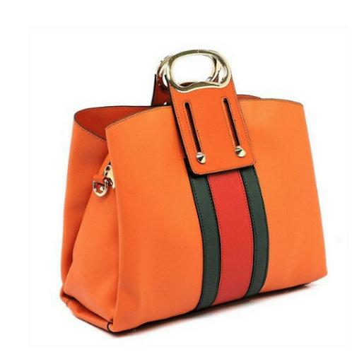 Orange Two-Tone Striped Handbag