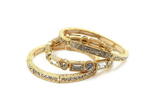 Gold Countess Crystal Stacked Bracelet Set