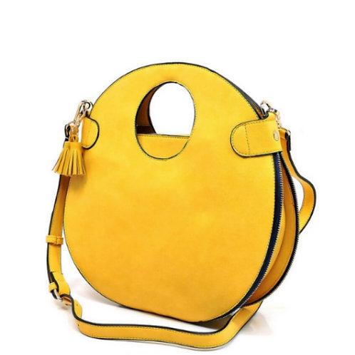 Yellow Zip- Round Handbag with Wallet