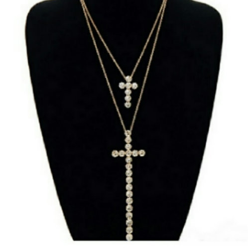 Two Double Layered Cross Necklace