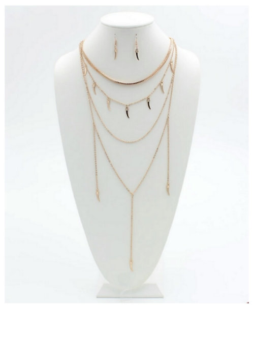 Whimsical Gold Layered Necklace Set