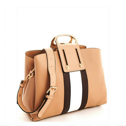 Tan Two Tone Stripe Handbag