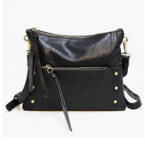 Zip-Front Crossbody Handbag with Antique Hardware