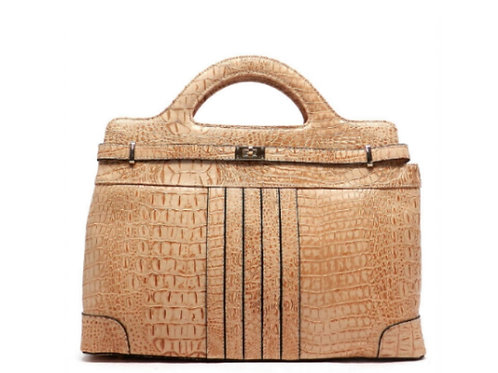 Beige Faux Croc Brief Handbag
