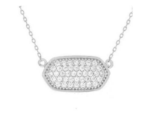 White Gold Crystal Charm Necklace