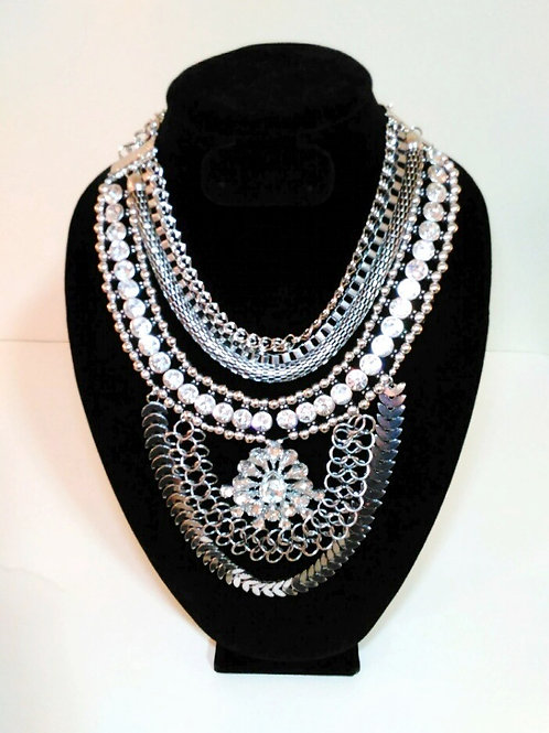 Silver & Crystal Triple Chain