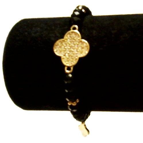 Gold & Black Clover Bead Bracelet