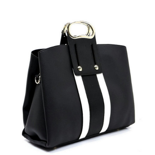 Black Two-Tone Striped Handbag