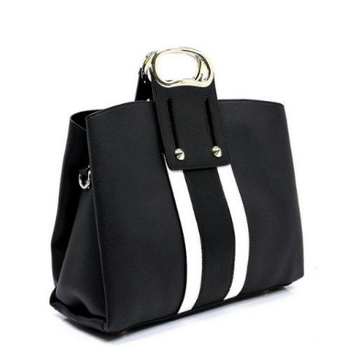 Black Two-Tone Striped Handbag
