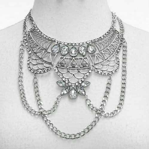 Ornate Crystal Chandalier Necklace