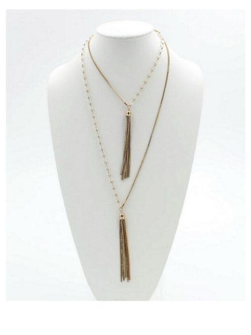 Double Gold Fringe Necklace