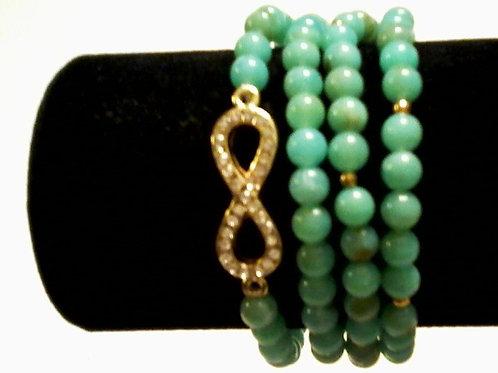 Blue Infinity Bead Bracelet