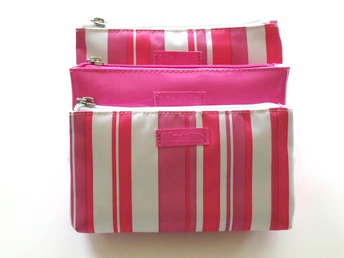 Pink & White Striped Cosmetic Bag Set