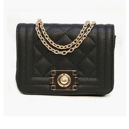 Chic Quilted Polished Handbag in Midnight Black