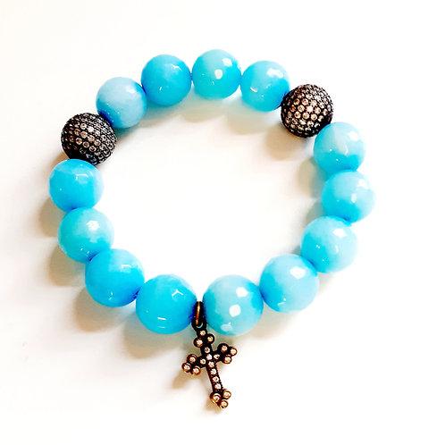 "Turquoise Semi-Precious Bracelet ""Cross"""
