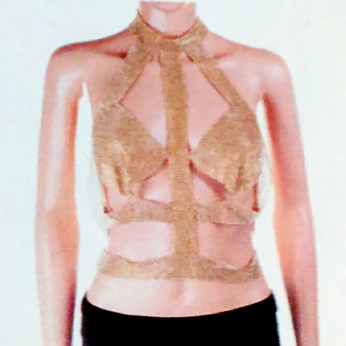 Gold Confetti Cut-Out Body Top