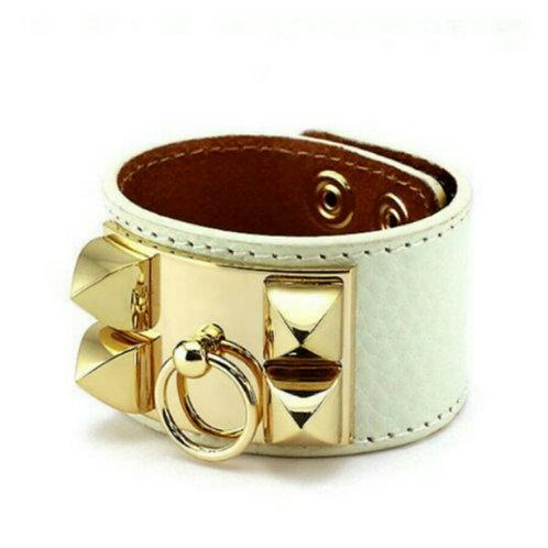 Gold Studded on White Band Bracelet