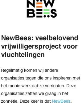 NewBees in de nieuwsbrief van NLvoorElkaar