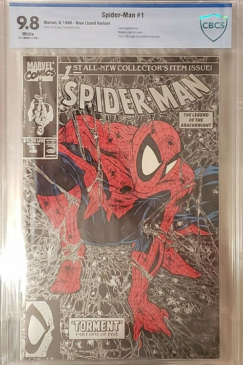 Spider-Man #1 (1990) Silver Cover Blue Lizard Variant CBCS 9.8