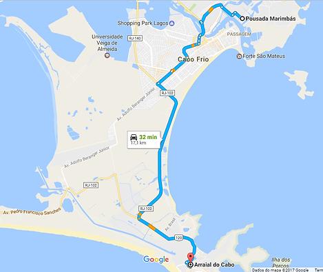 Mapa o hotel em Arraial do Cabo