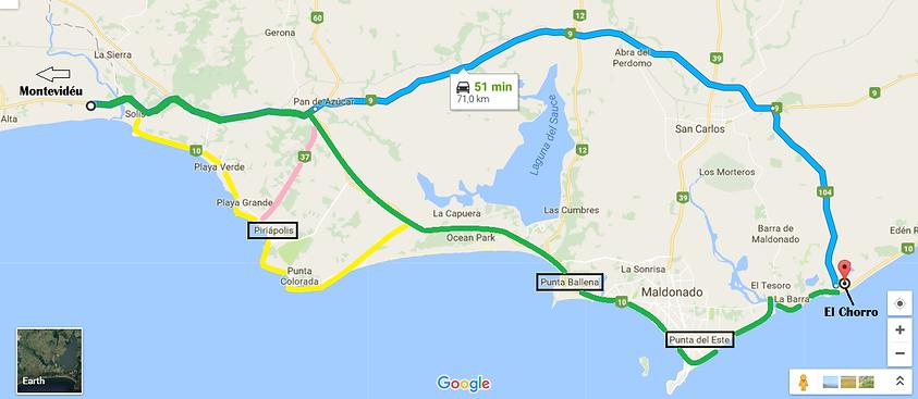 Mapa de como chegar em El Chorro