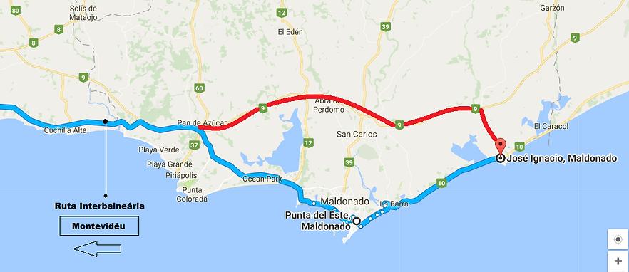 mapa punta del este e josé Ignacio no Uruguai