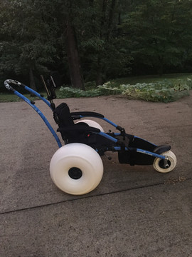 Meg's All Terrain chair came with special tires that can be put on for the beach.