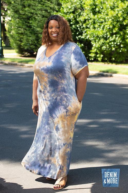Stoosh Curvy Tie n Dye V cut neckline roll cuff sleeves pocket dres