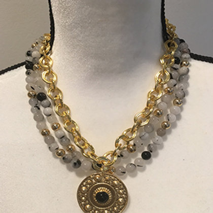 24k gold and 24k sterling silver polish necklaces with semi-precious