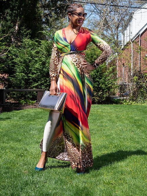 Leopard Side Slit Dress
