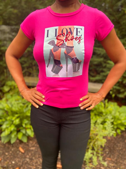 I love shoes bling fitted tee
