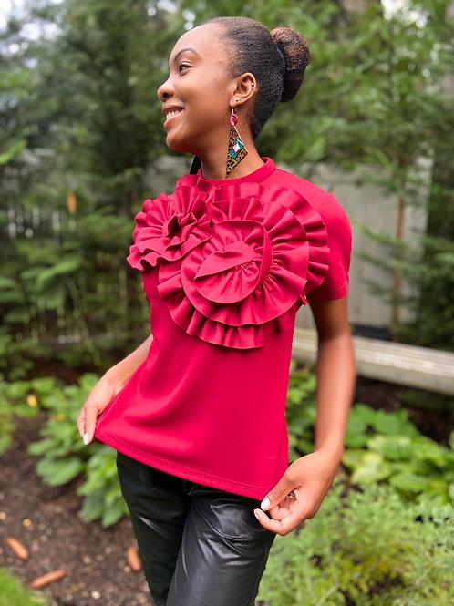 burgundy short sleeve detailed front blouse