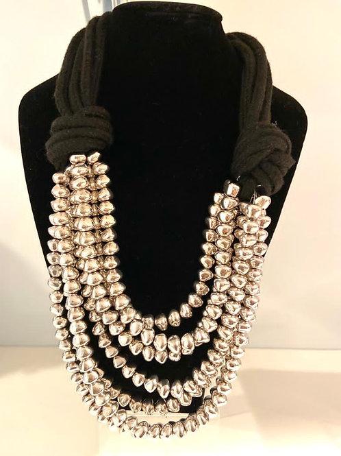 Italian designed multi strand silver necklace with black fabric