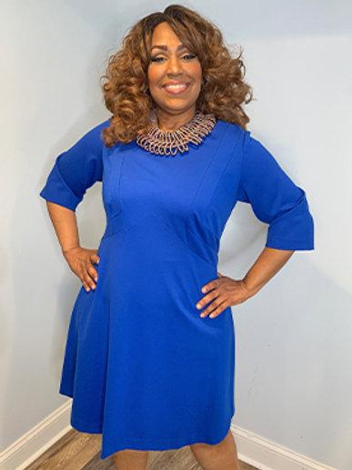 Cobalt Blue 3/4 Sleeve Dress