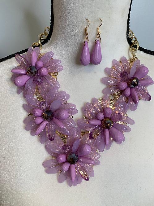 Purple Flowered Necklace Set