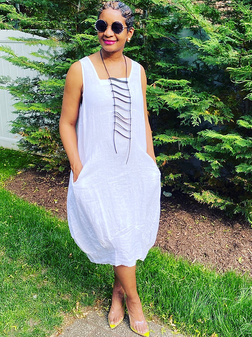 White Free Size Linen Pocket Dress Sleeveless