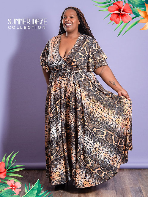 The Leopard Print Faux Wrap Dress with Pockets (CURVY)