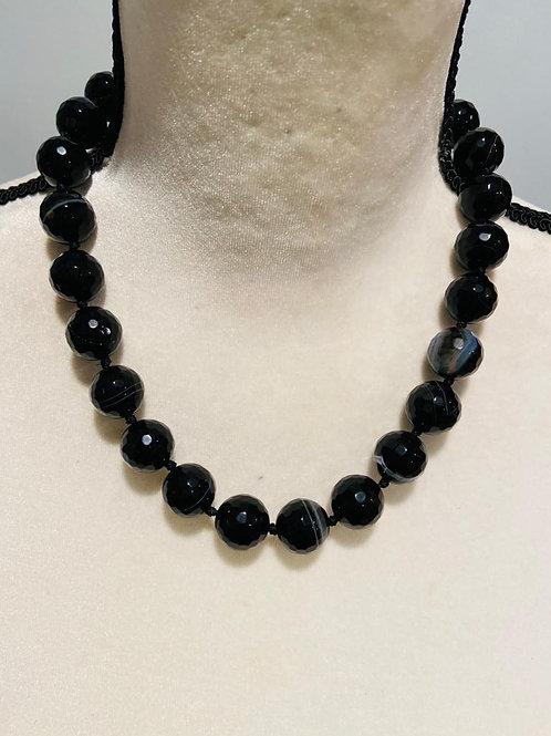 Semi precious black quartz necklace