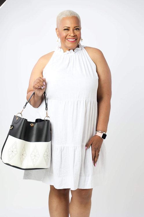 Halter neck cotton pocket dress