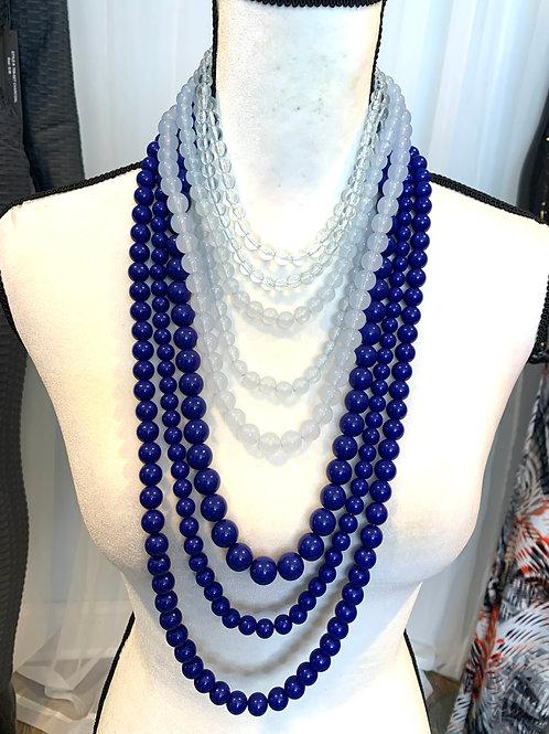 Statement blue multi strand layered necklace