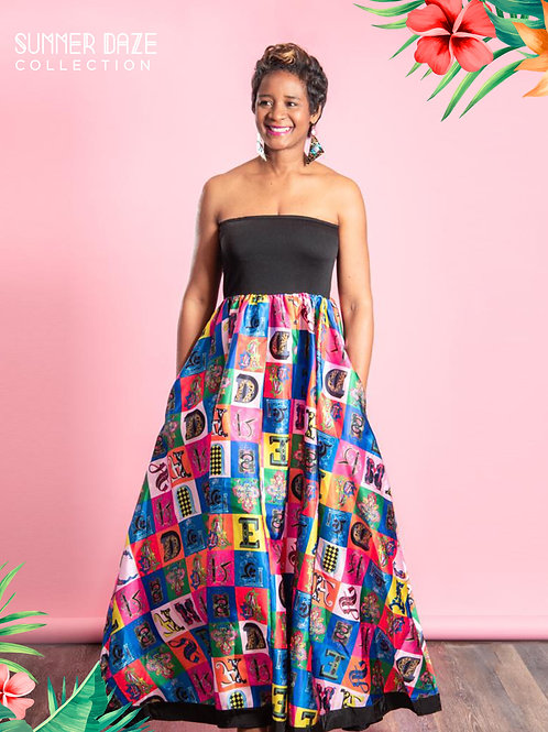 Alphabet Off Shoulder Maxi Dress With Pockets